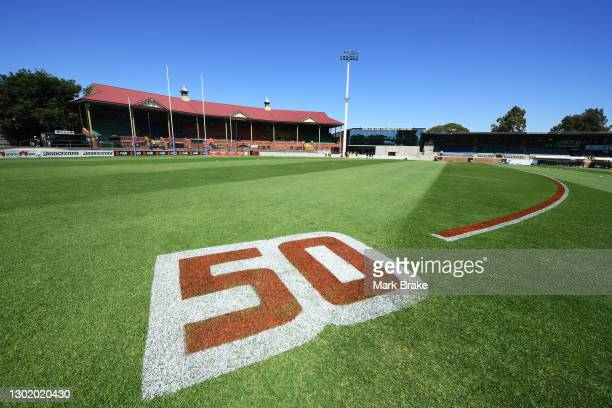 General view from the 50 metre line during the round three AFLW match between the Adelaide Crows and the Fremantle Dockers at Norwood Oval on...