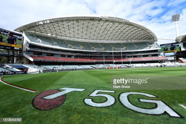 General view from the 50 metre line of the Riverbank Stand as crowd start to arrive before start of the round five AFL match between the Adelaide...