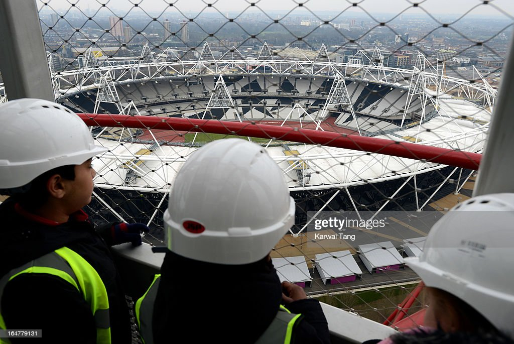 General view from the ArcelorMittal Orbit during the Park in Progress tour of the Queen Elizabeth Park on March 27, 2013 in London, England.