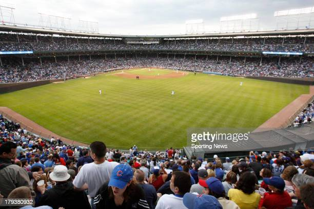 General view from the bleachers during the Houston Astros and the Chicago Cubs game on June 14 2006 at Wrigley Field in Chicago Illinois The Astros...