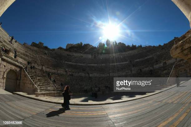 General view from the bottom of the 2nd-century Roman theatre, a famous landmark in the Jordanian capital, located in the Old Town. On Sunday,...