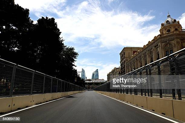 A general view from the circuit during previews ahead of the European Formula One Grand Prix at Baku City Circuit on June 16 2016 in Baku Azerbaijan