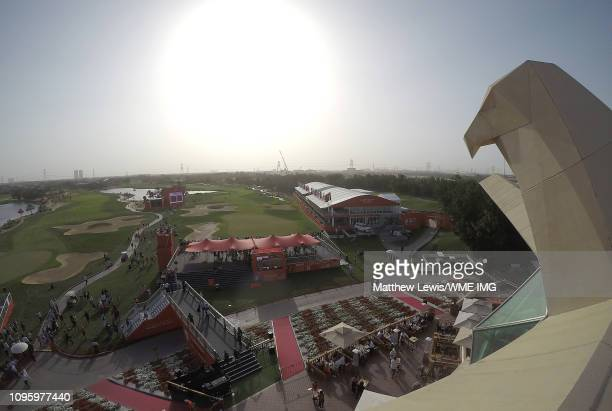 A general view from the clubhouse during Day Three of the Abu Dhabi HSBC Golf Championship at Abu Dhabi Golf Club on January 18 2019 in Abu Dhabi...