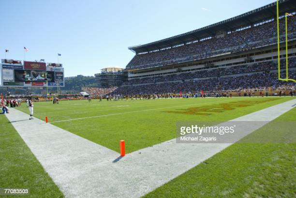 General view from the corner of the endzone during the NFL game between the San Francisco 49ers and the Pittsburgh Steelers at Heinz Field on...