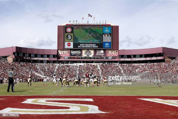 A general view from the end zone during the game with the Florida State Seminoles against the Louisville Cardinals at Doak Campbell Stadium on Bobby...