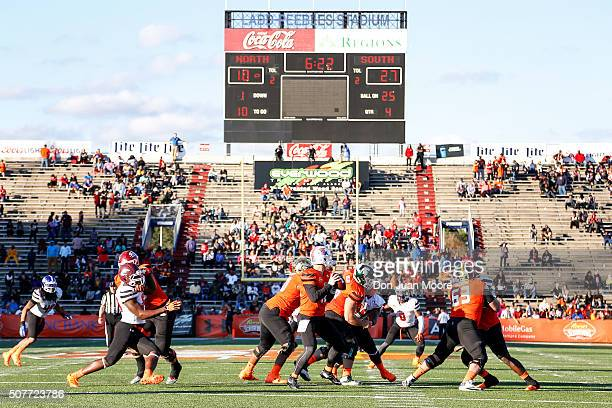 A general view from the end zone of the 2016 Resse's Senior Bowl at LaddPeebles Stadium on January 30 2016 in Mobile Alabama The South defeated the...