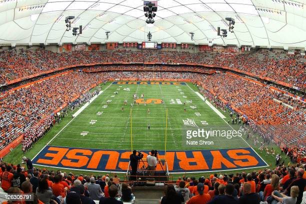 General View from the end zone of the Carrier Dome during the Syracuse Orange game vs the Toledo Rockets on September 24 2011 at the Carrier Dome in...