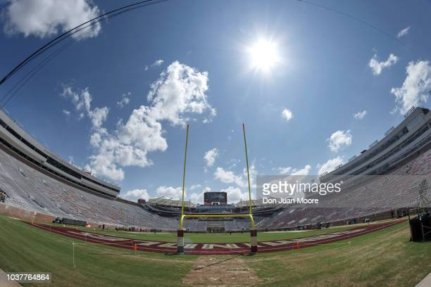 A general view from the endzone of the pylon with the Seminole Head Logo on it before the Florida State Seminoles host the Northern Illinois Huskies...