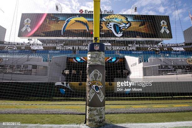 A general view from the endzone before the game between the Jacksonville Jaguars and the Los Angeles Chargers at EverBank Field on November 12 2017...