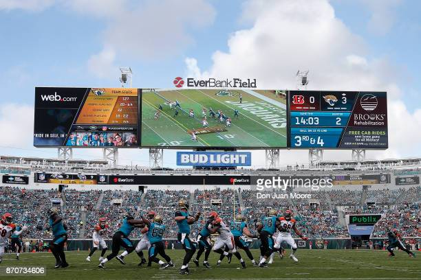 A general view from the endzone of the Jacksonville Jaguars during the game against the Cincinnati Bengals at EverBank Field on November 5 2017 in...