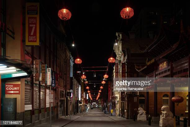 General view from the entrance of an empty Chintatown on little Bourke Street during curfew on September 10, 2020 in Melbourne, Australia. Melbourne...