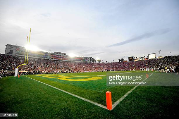 A general view from the field level of the Rose Bowl Stadium at dusk during a game between the Ohio State Buckeyes and the Oregon Ducks in the 96th...
