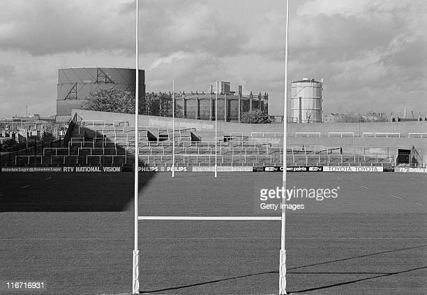 General view from the goalposts of the Lansdowne Road stadium on 1st September 1984 in Dublin, Ireland.