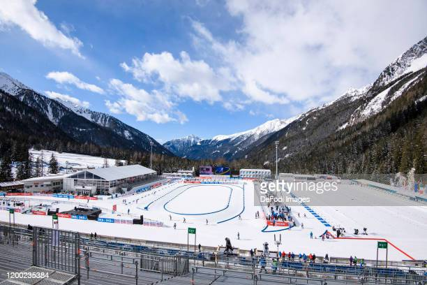General view from the Grandstand during a training session for the IBU World Championships Biathlon AntholzAnterselva on February 12 2020 in...