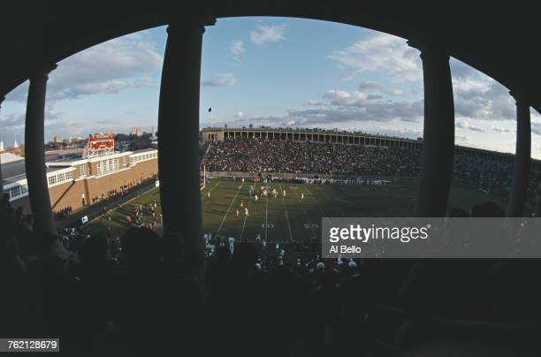 A general view from the grandstand of the play action during the the NCAA Division I Conference Ivy League game between the Harvard University...