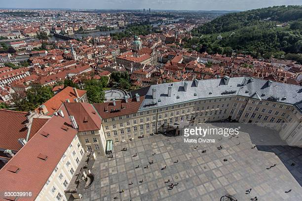 A general view from the Great South Tower of St Vitus Catherdral to the Prague Castle and city center on May 9 2016 in Prague Czech Republic Ruler...