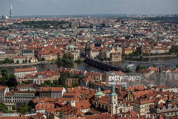 A general view from the Great South Tower of St Vitus Catherdral to the city center with the Charles Bridge in the middle on May 9 2016 in Prague...