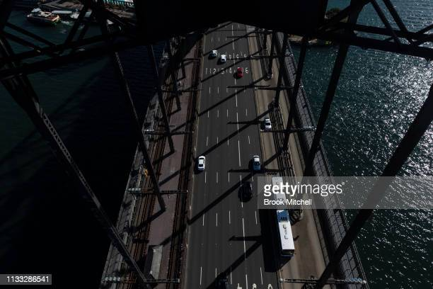 A general view from the Harbour Bridge on March 03 2019 in Sydney Australia The Clean Up Sydney Harbour event was founded by the late Ian Kiernan in...