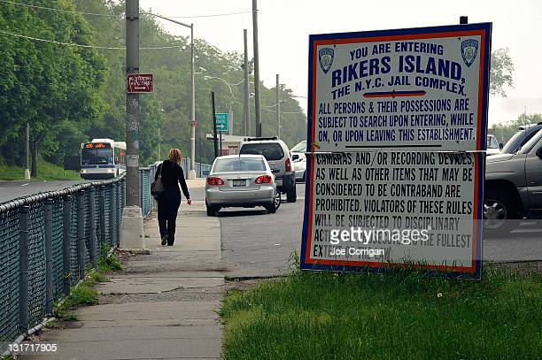 A general view from the intersection of the only entrance into and exit out of Rikers Island while waiting for former IMF Director Dominique...
