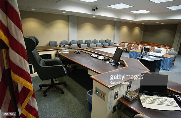 General view from the judges seat is seen in courtroon number 10 October13, 2003 in Virginia Beach, Virginia. The trial of sniper suspect John Allen...