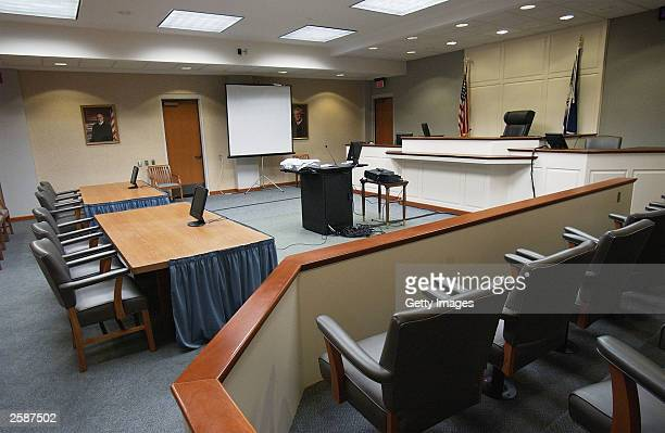 General view from the jury box is seen in courtroon number 10 October13, 2003 in Virginia Beach, Virginia. The trial of sniper suspect John Allen...