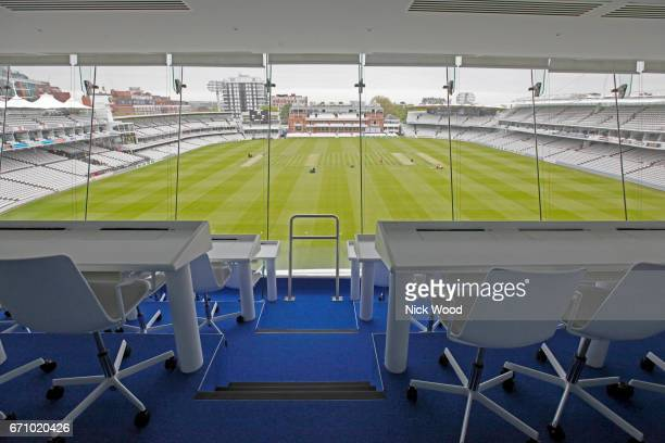 general view from the media centre prior to the start of play at Lords Cricket Ground on April 10 2017 in London England