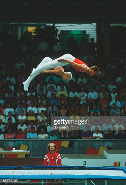 General view from the mens synchronized trampoline during the World Games on July 28 1985 in Karlsruhe Germany