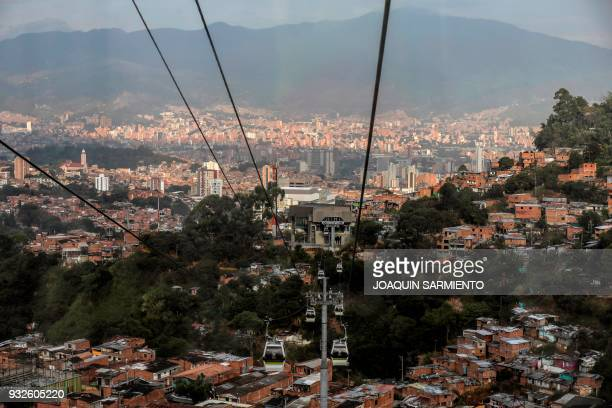 A general view from the Metrocable in Medellin Antioquia department Colombia on March 15 2018 The sixth IPBES Biodiversity Summit will take place...