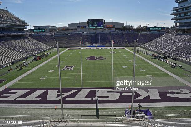 General view from the north end zone of Bill Snyder Family Football Stadium prior to a game between the Kansas State Wildcats and West Virginia...