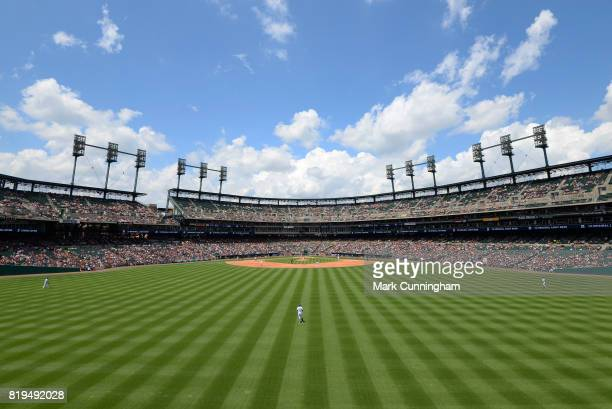 A general view from the outfield of Comerica Park during the game between the Detroit Tigers and the Cleveland Indians at Comerica Park on July 1...