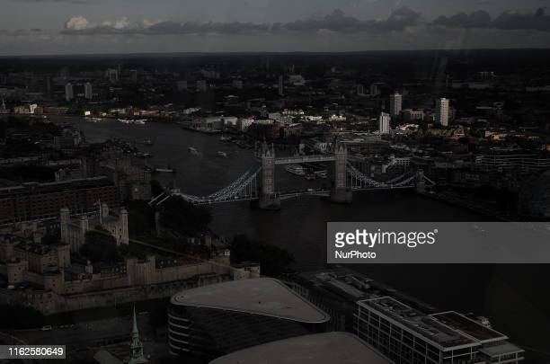 General view from the rooftop of 20 Fenchurch Street skyscraper named Sky Garden in London on August 18 2019 Number 20 Fenchurch Street in the...