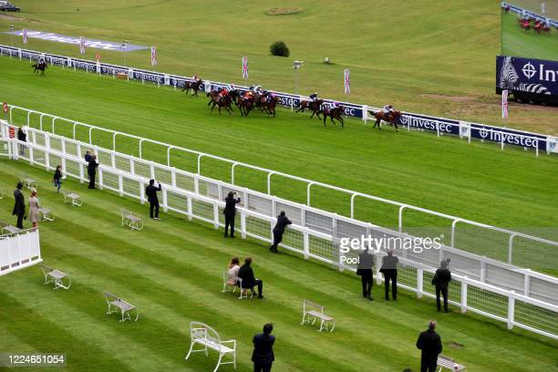General view from the royal box of runners and riders in the Investec Handicap at Epsom Racecourse on July 04, 2020 in Epsom, England. The famous...