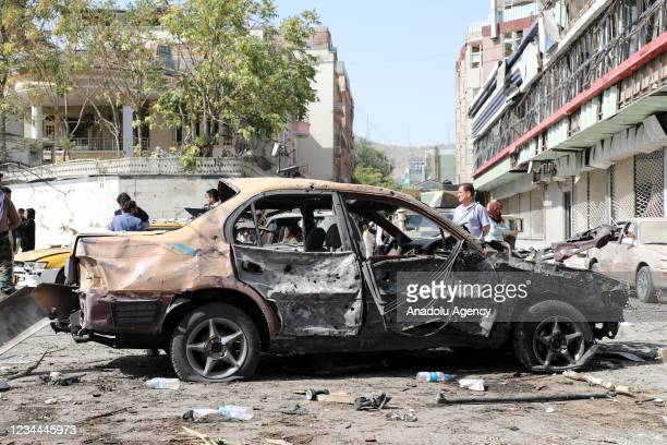 General view from the scene after a strong explosion followed by gunfire hit Afghanistan's capital of Kabul near the defense minister's residence in...