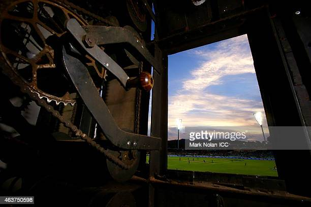 General view from the score board during the 2015 ICC Cricket World Cup match between Bangladesh and Afghanistan at Manuka Oval on February 18, 2015...