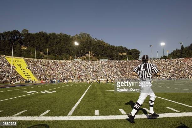 General view from the sideline during the game between the USC Trojans and the California Golden Bears at Memorial Stadium on September 27 2003 in...