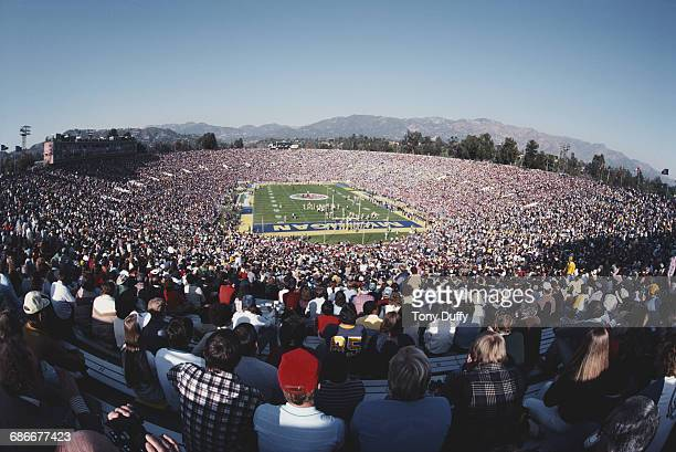 General view from the spectators in the grandstands of the NCAA Division IA college football game between the Michigan Wolverines and UCLA Bruins at...