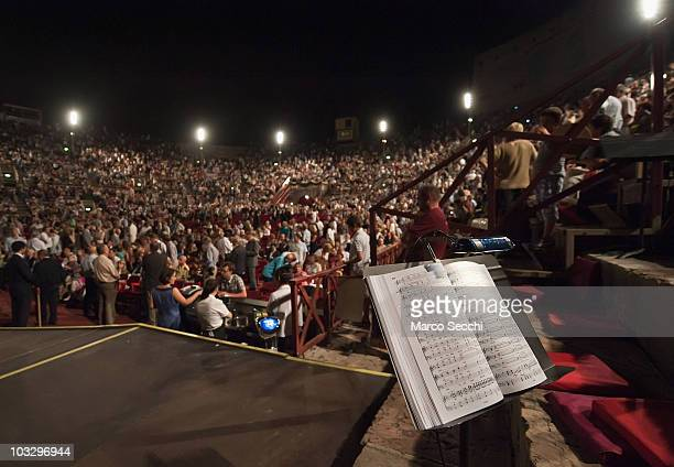 A general view from the stage of the Arena during an interval at the performance of 'Aida' on August 8 2010 in Verona Italy The city of Verona is...