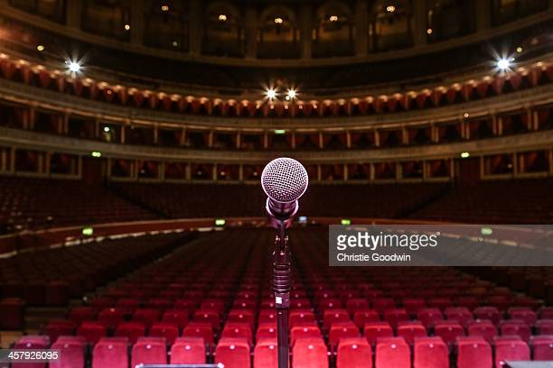 General view from the stage of the Royal Albert Hall in London, England showing the performer's view of the empty auditorium and seating seen from...