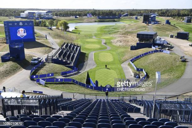 A general view from the stands ahead of the 42nd Ryder Cup at Le Golf National Course at SaintQuentinenYvelines southwest of Paris on September 24...
