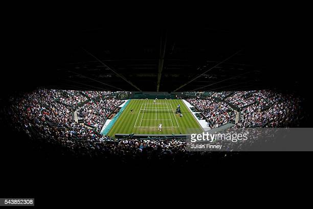 A general view from the stands as Grigor Dimitrov of Bulgaria faces Gilles Simon of France in the Men's Singles second round match on day four of the...