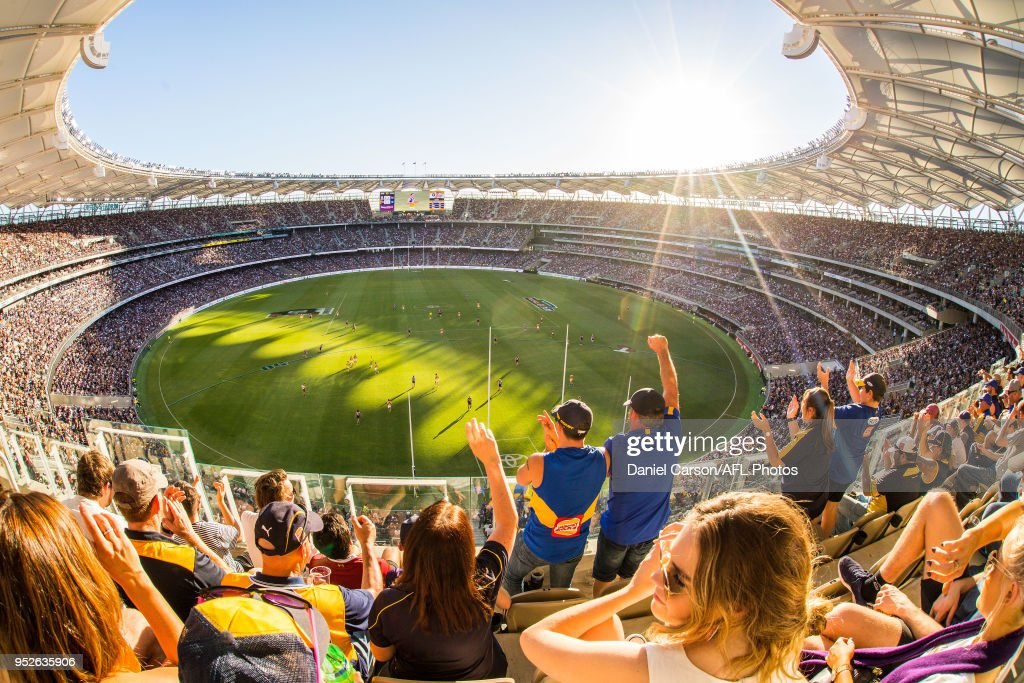 A general view from the stands during the 2018 AFL round six match between the Fremantle Dockers and the West Coast Eagles at Optus Stadium on April 29, 2018 in Perth, Australia.