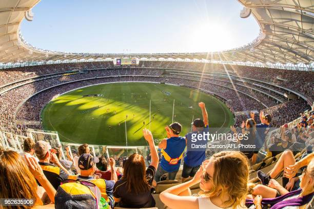 General view from the stands during the 2018 AFL round six match between the Fremantle Dockers and the West Coast Eagles at Optus Stadium on April...