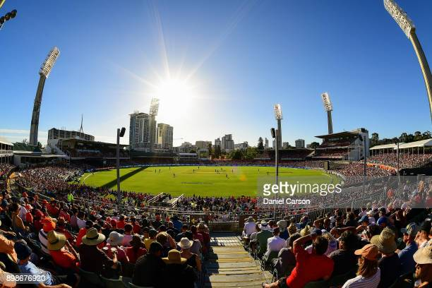 General View from the stands during the Big Bash League match between the Perth Scorchers and the Melbourne Stars at WACA on December 26 2017 in...