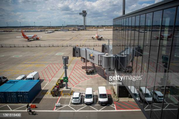 General view from the terminal during a trial run of the baggage system at Berlin Brandenburg Airport ahead of the new airport's opening scheduled...