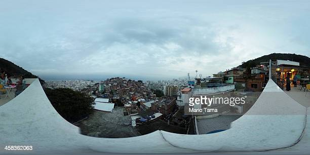 A general view from the terrace at the Tiki Hostel in the Cantagalo 'favela' community on June 30 2016 in Rio de Janeiro Brazil The hostel is gearing...