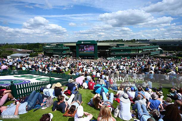 A general view from the top of Murray mound on day one of the Wimbledon Lawn Tennis Championships at the All England Lawn Tennis and Croquet Club on...