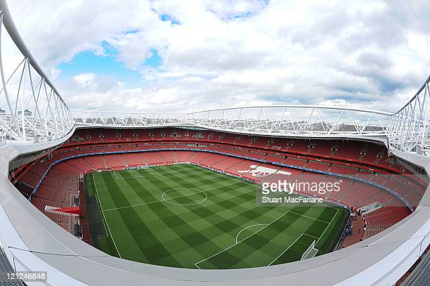 A general view from the top of the Emirates Stadium before the UEFA Champions League PlayOff First Leg match between Arsenal and Udinese at Emirates...