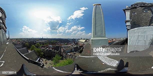 A general view from the top of the Oude Kerk Tower on Oudekerksplein on May 11 2016 in Amsterdam Netherlands The 800yearold Oude Kerk Old Church is...