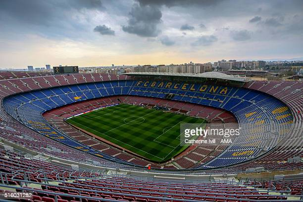 General view from the top of the stadium before the UEFA Champions League match between FC Barcelona and Arsenal at Camp Nou on March 16 2016 in...