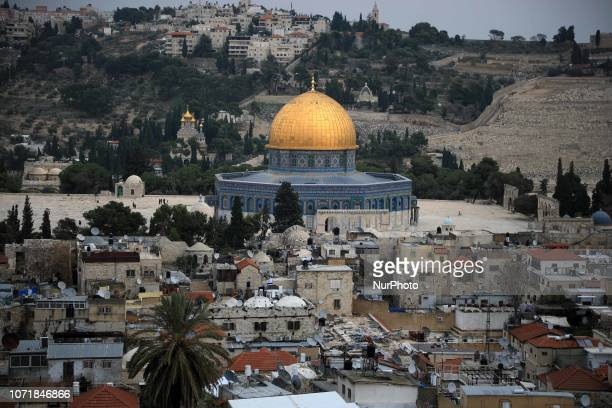 A general view from the tower of the Church of Redeemer shows the Dome of the Rock mosque Islam's third holiest site in the old city of Jerusalem on...